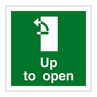 Handle Up Anti-Clockwise to Open Door sign