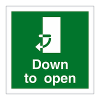 Handle Down Clockwise to Open Door sign