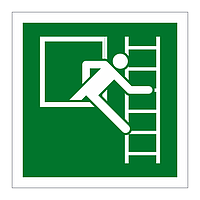 Emergency Window Escape Ladder Right sign