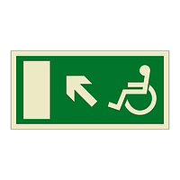 Escape Route Wheelchair with Arrow Up Left (Marine Sign)