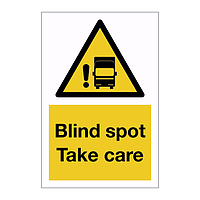 Blind spot take care sign