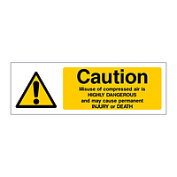 Caution Misuse of compressed air is highly dangerous sign