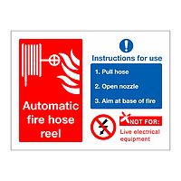 Automatic fire hose reel sign