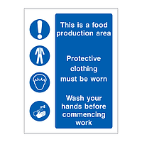 This is a food production area sign