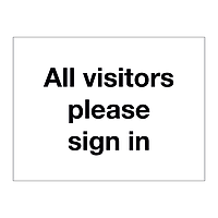 All visitors please sign in sign