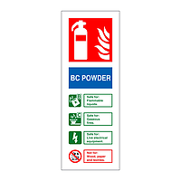 BC Powder fire extinguisher Identification Sign