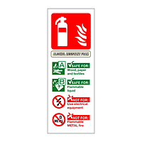 Alcohol resistant roam fire extinguisher identification sign