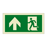Evacuation Route Running Man with Arrow Up (Marine Sign)