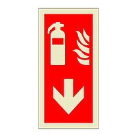 Fire Extinguisher Down Directional Arrow (Marine Sign)