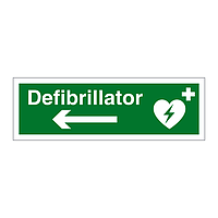 Defibrillator arrow left sign