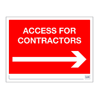 Site Safe - Access for Contractors Arrow right sign