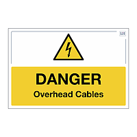 Site Safe - Danger Overhead Cables sign