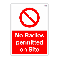 Site Safe - No radios permitted on site sign