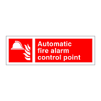 Automatic fire alarm control panel sign