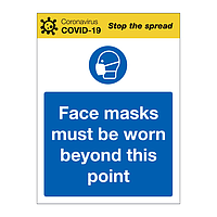 Face masks must be worn beyond this point Covid-19 sign