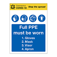 Full PPE must be worn Covid-19 sign