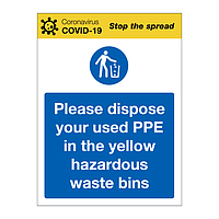 Dispose your used PPE in Yellow Waste Bins Covid-19 sign