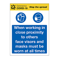 Face Visors and masks must be worn at all times Covid-19 sign