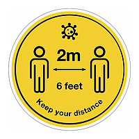 Keep your distance 2m Covid 19 floor graphic