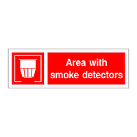 Area with smoke detectors sign