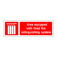 Area equipped with fixed fire extinguishing system sign