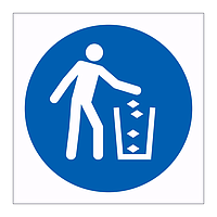 Use litter bin symbol sign