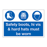 Safety boots hi vis & hard hats must be worn sign
