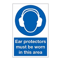 Ear protectors must be worn in the area sign