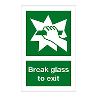 Break glass to exit sign