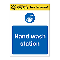 Hand wash station Covid-19 sign