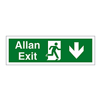 Exit arrow down English/Welsh sign