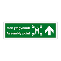 Assembly point arrow up English/Welsh sign