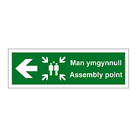 Assembly point arrow left English/Welsh sign