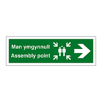 Assembly point arrow right English/Welsh sign