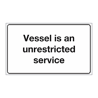 Cat 0 - Unrestricted service sign (Marine sign)