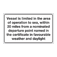 Cat 5 - Up to 20 miles from a nominated departure point, in favourable weather & daylight sign (Marine sign)