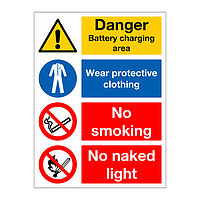 Danger Battery charging area multi-message sign