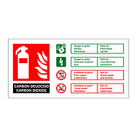 Carbon Dioxide fire extinguisher identification English/Welsh sign
