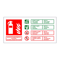 Alcohol resistant foam fire extingisher identification English/Welsh sign