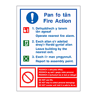 Fire Action English/Welsh sign