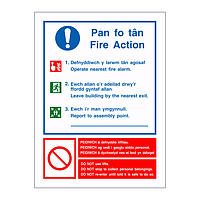 Fire Action with Assembly Point details English/Welsh sign