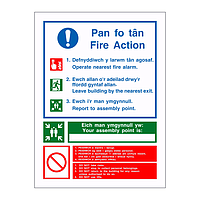 Fire Action with Assembly Point English/Welsh sign