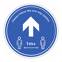 1 metre + Follow the one way system Covid 19 floor graphic