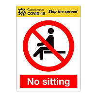 No sitting Covid-19 sign
