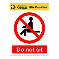 Do not sit Covid-19 sign