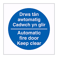 Automatic fire door Keep clear English/Welsh sign