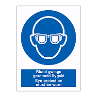 Eye protection must be worn English/Welsh sign