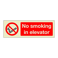 No smoking in elevator (Marine Sign)