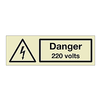 Danger 220 volts (Marine Sign)