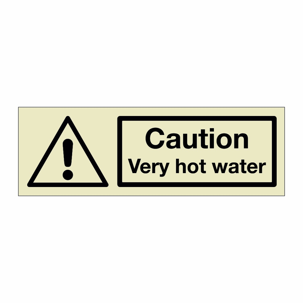 Caution Very hot water (Marine Sign)
